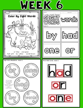 Weekly Sight Word Pack- Week 6