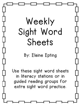 Weekly Sight Word Practice