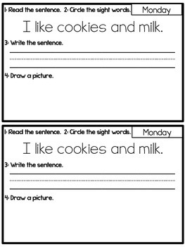 Weekly Sight Word Sentences {Sight Word Practice Books: Pre-Primer Edition}