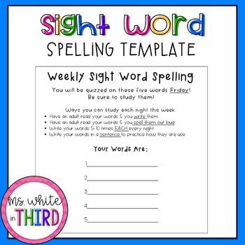 Weekly Sight Word Spelling