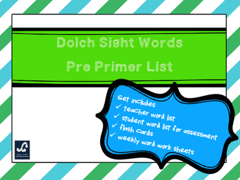 Dolch Pre Primer Weekly Sight Word Work