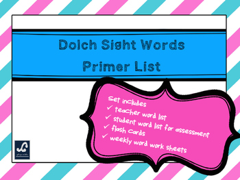 Dolch Primer Weekly Sight Word Work