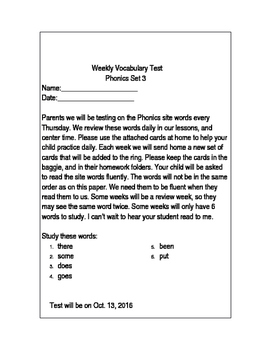 Weekly Site Word Vocabulary Test- Phonics