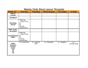 Weekly Skills Block Lesson Template