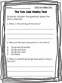 Reading Street Weekly Skills, Vocabulary, and Comprehension Tests - Grade 2