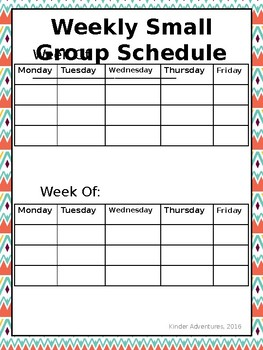 Weekly Small Group Schedule