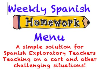 Weekly Spanish Homework Menu
