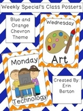 Weekly Specials Class Posters - Blue and Orange Chevron Theme