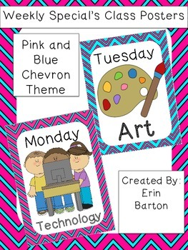 Weekly Specials Class Posters - Pink and Blue Chevron Theme