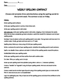 Weekly Spelling Contract Cover Sheet