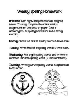 Weekly Spelling Homework