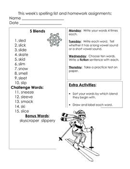 Weekly Spelling Homework 4