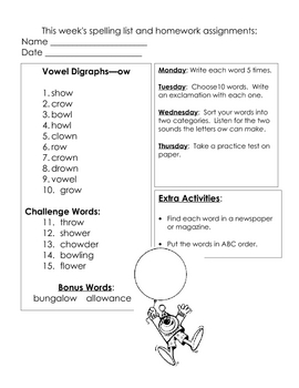 Weekly Spelling Homework 5