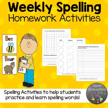 Weekly Spelling Homework Activities