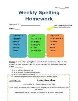 Weekly Spelling Homework Assignment Template