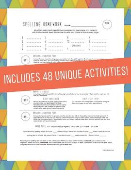 Weekly Spelling Homework Worksheets with Activity Menus