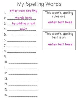 Weekly Spelling Homework - Editable!