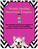 Weekly Spelling Homework Editable Template Daily