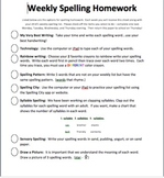 Weekly Spelling Homework For Autistic students