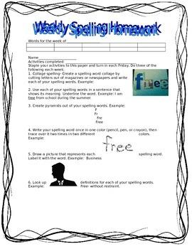 Weekly Spelling Homework Options