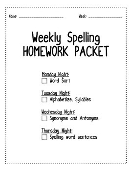 Weekly Spelling Homework Packet for Upper Grades