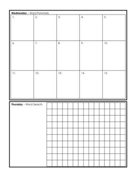 Weekly Spelling Homework Page - 15 Words (Version #2)