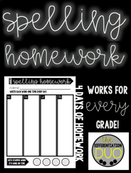 Weekly Spelling Homework Sheet