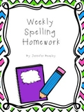 Weekly Spelling Homework Template