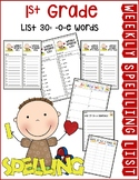 Weekly Spelling Lists 1st Gr List 30 (-o-e words)