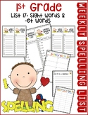 Weekly Spelling Lists 1st Grade List 17 (Sight words & -et words)