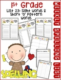 Weekly Spelling Lists 1st Grade List 23 (Sight words & sho