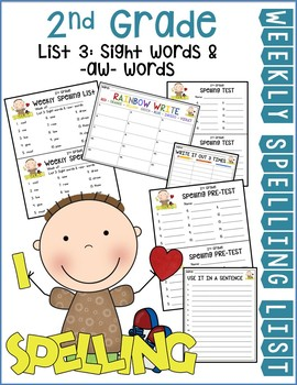 Weekly Spelling Lists 2nd Gr List 3 (Sight words & -aw words)