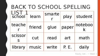 Weekly Spelling Lists