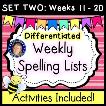 Weekly Spelling Lists - Differentiated - SET TWO Weeks 11 - 20
