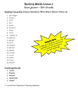 Weekly Spelling Lists for 5th Grade Storytown Lessons 1 - 30