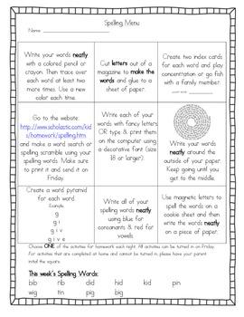 Weekly Spelling Menu- Short i Words