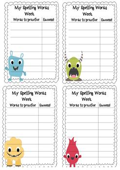 Weekly Spelling Monster Theme