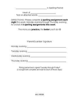 Weekly Spelling Packet