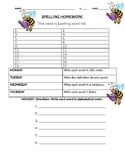 Weekly Spelling Packet Template