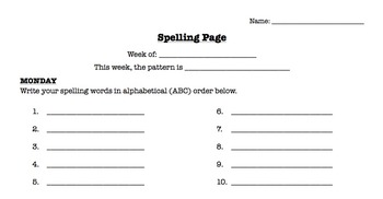 Weekly Spelling Page