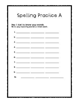 Weekly Spelling Practice - 4 Variations