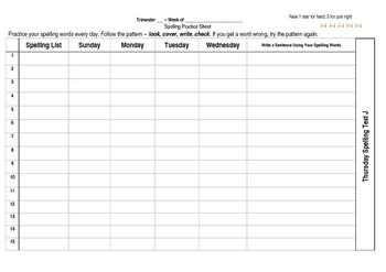 Weekly Spelling Practice Sheet