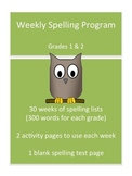 Weekly Spelling Program for Grades 1 and 2, Includes 30 Word Lists + more