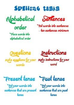 Weekly Spelling Tasks Display