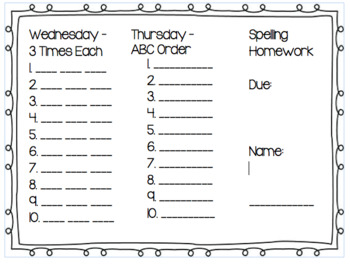 Weekly Spelling Trifold Template