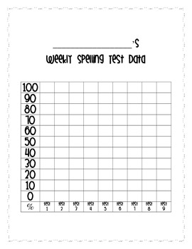 Weekly Spelling Test Student Data Notebook Sheet