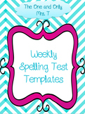 Weekly Spelling Test Templates for 5, 10, 15, 20, 25 words