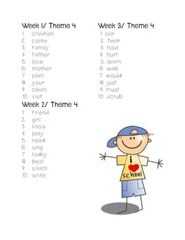 Weekly Spelling Tests Houghton Mifflin Themes 3-4