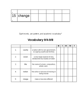 Weekly Spelling/Vocabulary Sheet (Changeable)