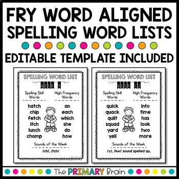 Weekly Spelling Word Lists with Flash Cards - FRY Word Aligned